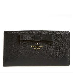 Kate Spade North Court Bow Pebbled Leather Wallet